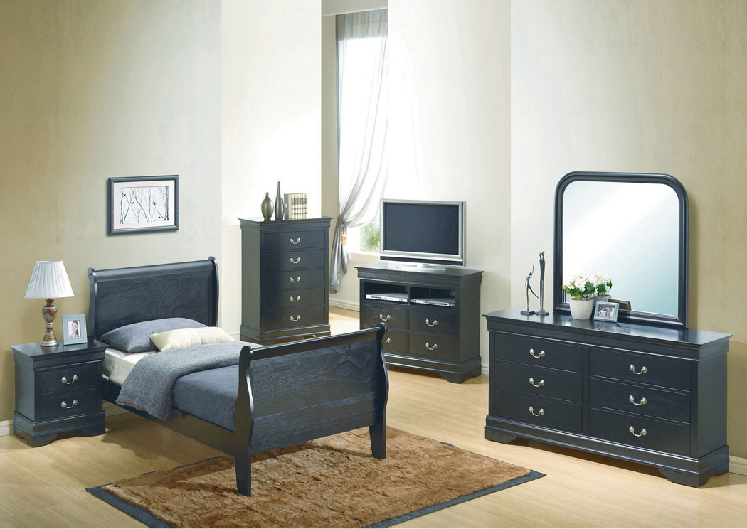 Black Twin Sleigh Bed, Dresser & Mirror,Glory Furniture