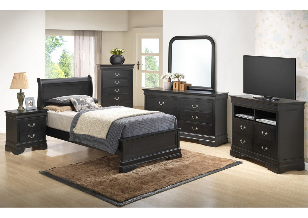 Black Twin Low Profile Bed, Dresser & Mirror,Glory Furniture