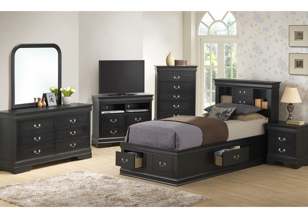 Black Twin Storage Bookcase Bed, Dresser, Mirror & Night Stand,Glory Furniture