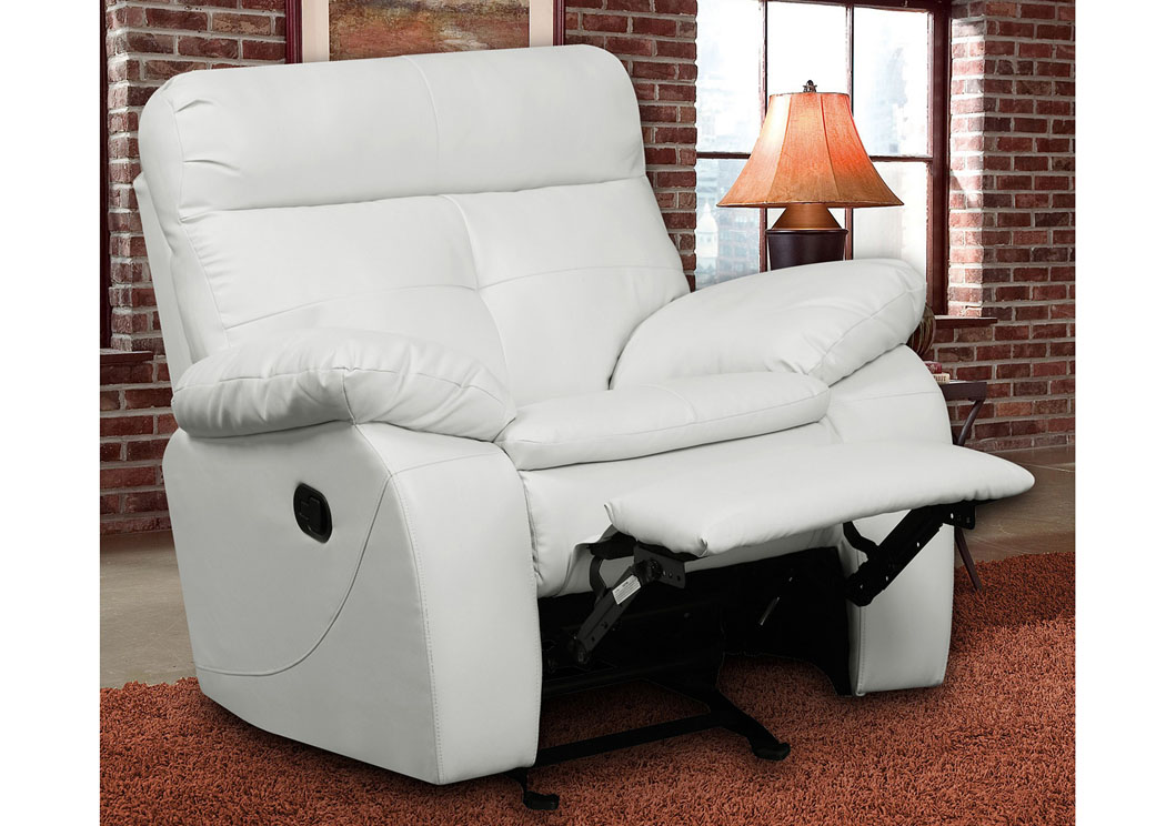 White Bonded Leather Motion Glider Recliner Chair,Glory Furniture