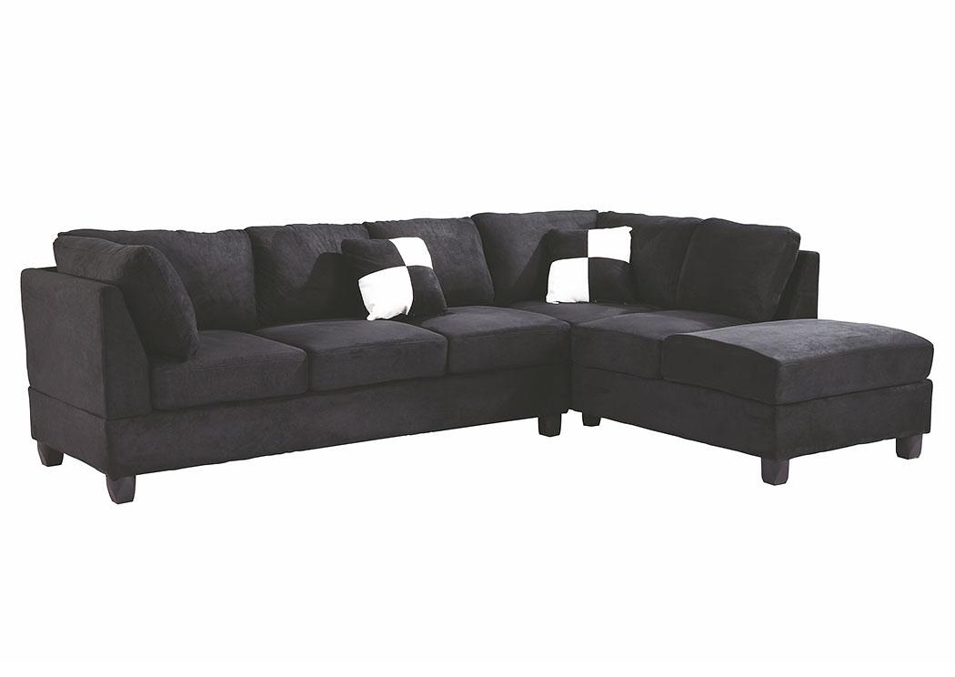 American Furniture Design Black Suede Sectional