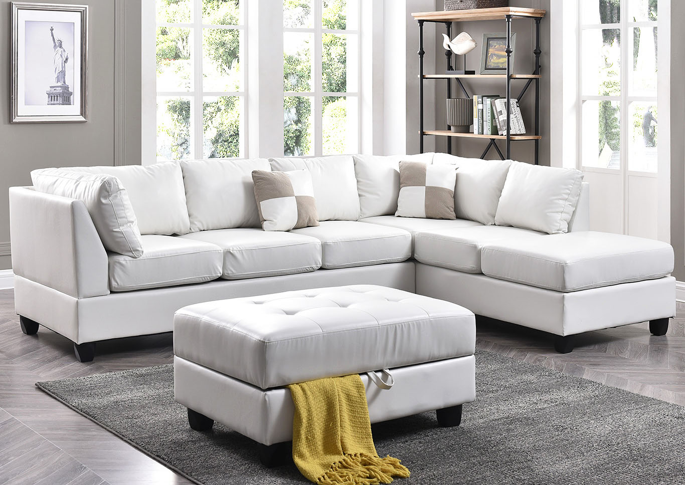 Furniture Direct NJ White Faux Leather Sectional