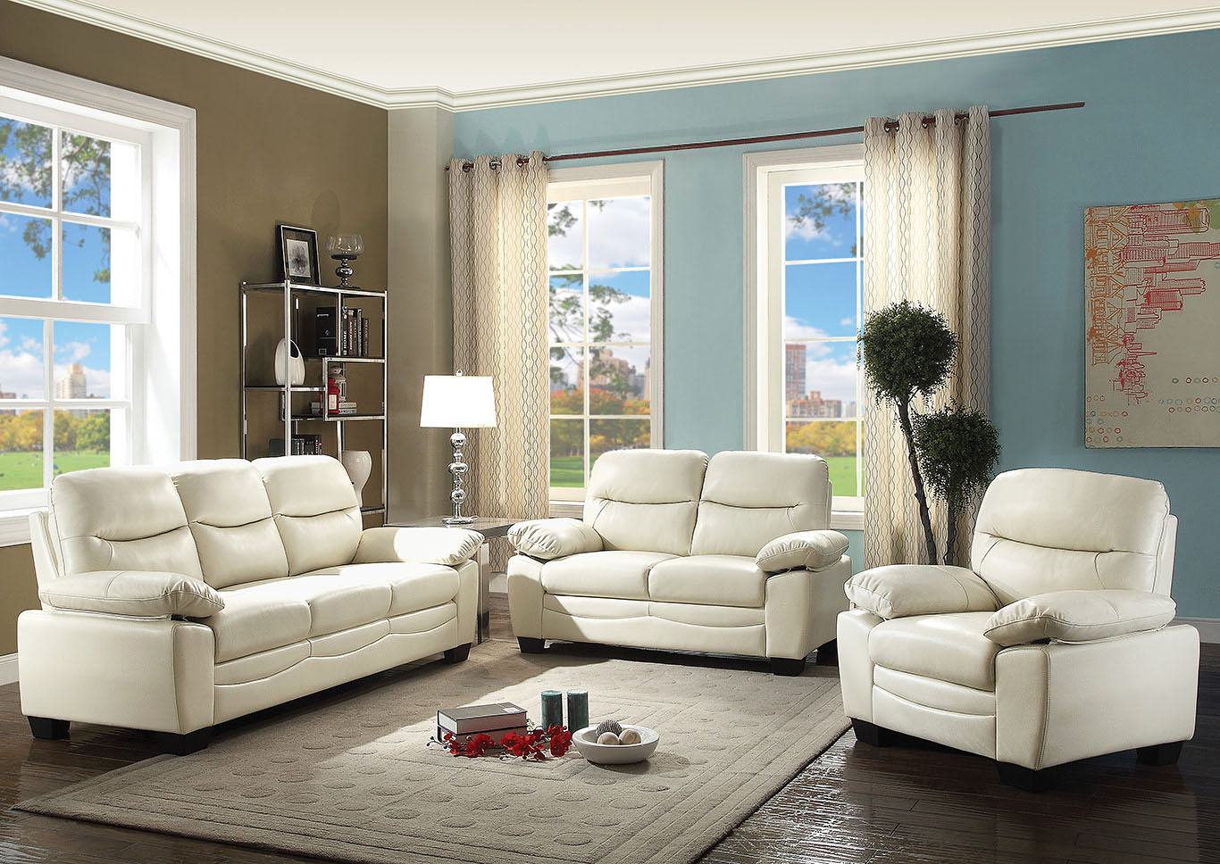 Torcon pearl faux leather sofaglory furniture