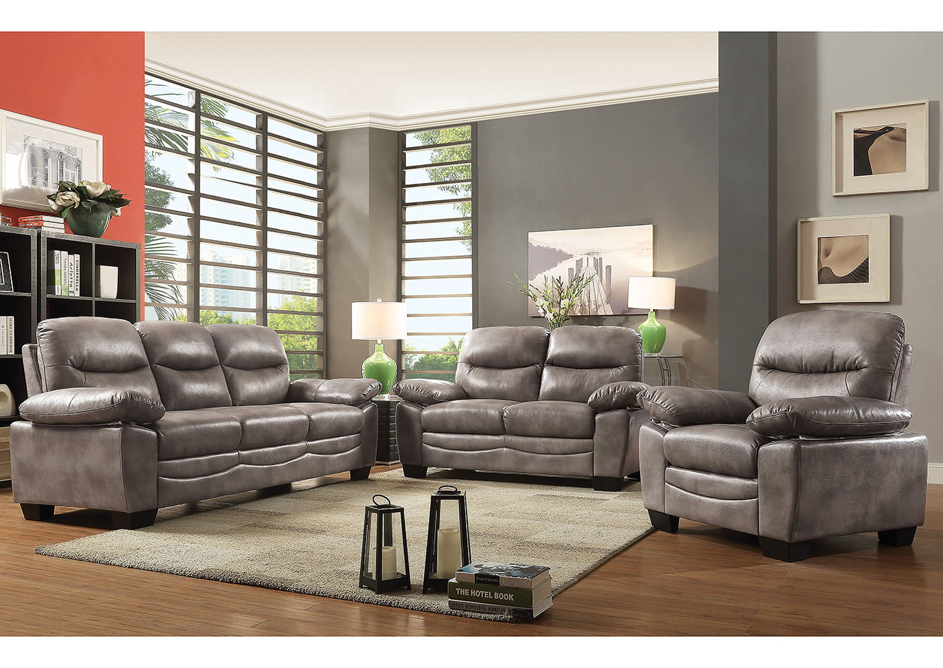 Home Furnishings Depot - NY Torcon Gray Faux Leather Sofa ...