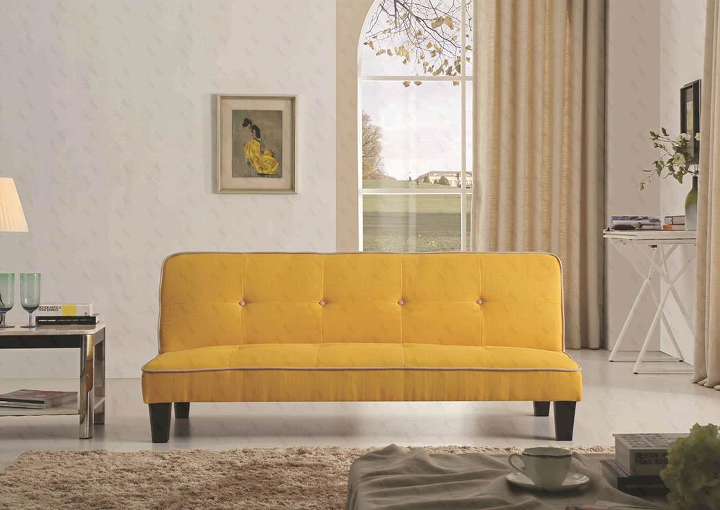NDC Stores Newark NJ Newbury Yellow Fabric Convertible Sleeper Sofa