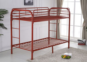 Red Twin/Twin Bunkbed w/ Bracket