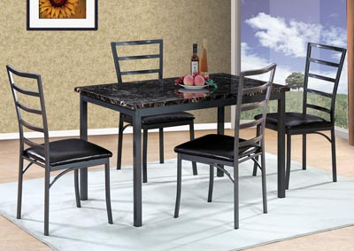 Gun Metal Table w/ 4 Side Chairs