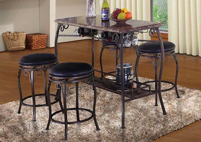 Faux Stone & Metal Table and 4 Stools