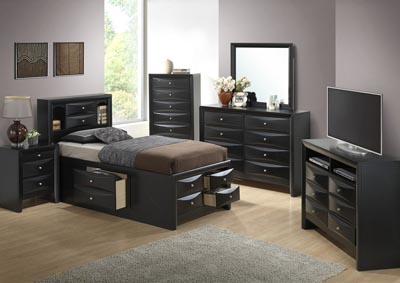 Black Twin Storage Bookcase Bed, Dresser & Mirror