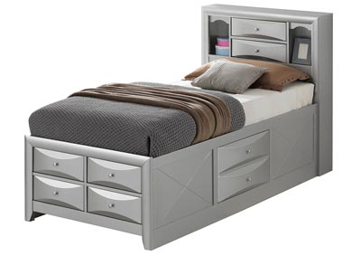 Image for Gray 6 Drawer Twin Storage Bed