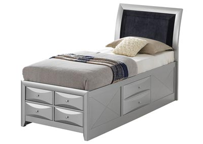 Image for Gray Twin 6 Drawer Storage Bed
