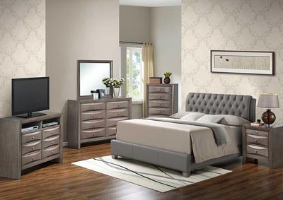 Gray Queen Upholstered Bed, Dresser, Mirror, Chest & Night Stand