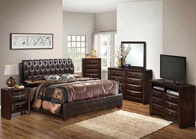 Image for Cappuccino King Upholstered Bed, Dresser & Mirror