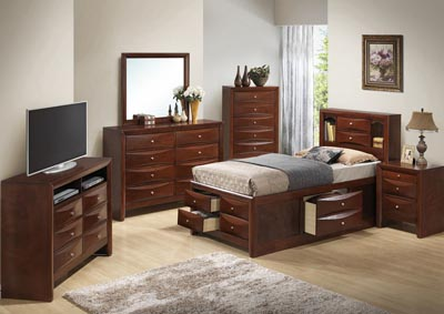 Image for Cherry Full Storage Bookcase Bed, Dresser & Mirror