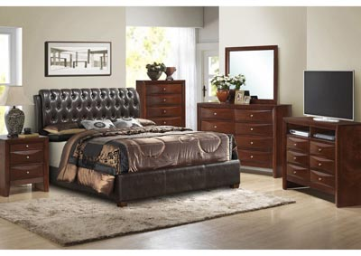 Cherry Queen Upholstered Bed, Dresser, Mirror, Chest & Night Stand