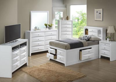 Image for White Full Storage Bookcase Bed, Dresser & Mirror