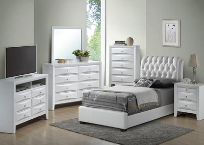 Image for White Twin Upholstered Bed, Dresser & Mirror