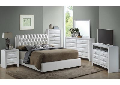 White Queen Upholstered Bed, Dresser & Mirror