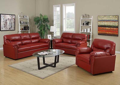 Just Furniture Red Bonded Leather Sofa & Loveseat