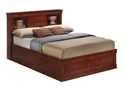 Cherry King Storage Bookcase Bed