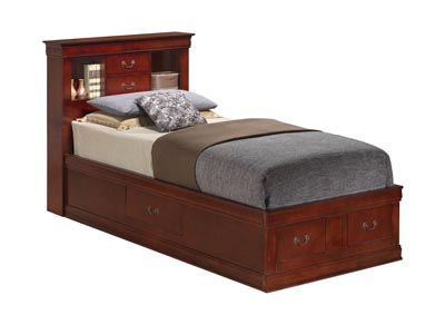 Cherry Full Storage Bookcase Bed