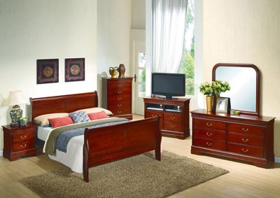 Cherry Queen Sleigh Bed, Dresser, Mirror, Chest & Night Stand