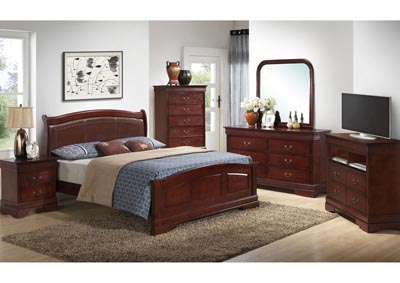 Cherry King Low Profile Upholstered Bed, Dresser, Mirror, Chest & Night Stand