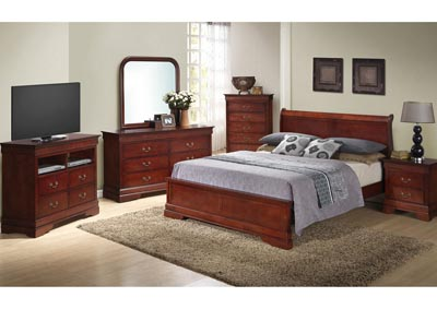 Cherry King Low Profile Bed, Dresser, Mirror, Chest & Night Stand