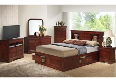 Cherry Queen Storage Bookcase Bed, Dresser, Mirror, Chest & Night Stand