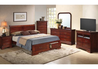 Cherry King Low Profile Storage Bed, Dresser, Mirror, Chest & Night Stand