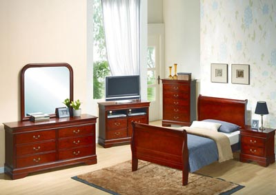 Cherry Full Sleigh Bed, Dresser, Mirror, Chest & Night Stand