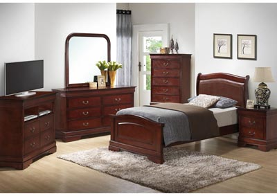 Cherry Full Low Profile Upholstered Bed, Dresser, Mirror, Chest & Night Stand