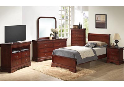 Cherry Full Low Profile Bed, Dresser, Mirror, Chest & Night Stand