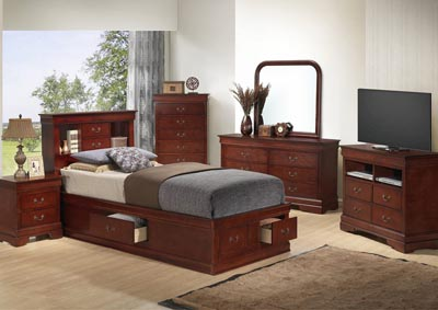 Cherry Full Storage Bookcase Bed, Dresser, Mirror, Chest & Night Stand