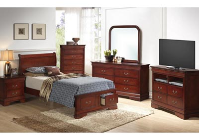 Cherry Full Low Profile Storage Bed, Dresser, Mirror, Chest & Night Stand