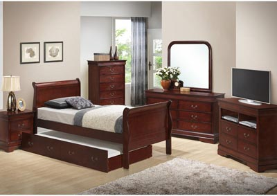 Cherry Full Trundle Bed, Dresser, Mirror, Chest & Night Stand