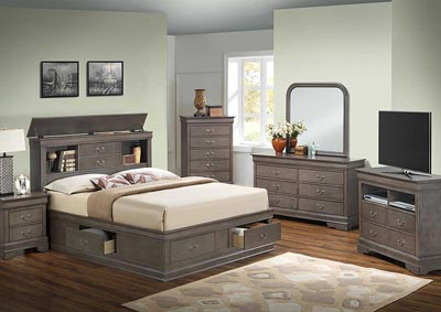 Grey Queen Storage Bed, Dresser, Mirror, Chest & Nightstand