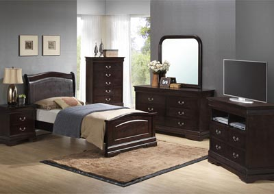 Cappuccino Twin Low Profile Upholstered Bed, Dresser, Mirror, Chest & Night Stand