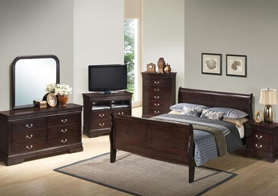 Cappuccino King Sleigh Bed, Dresser, Mirror, Chest & Night Stand