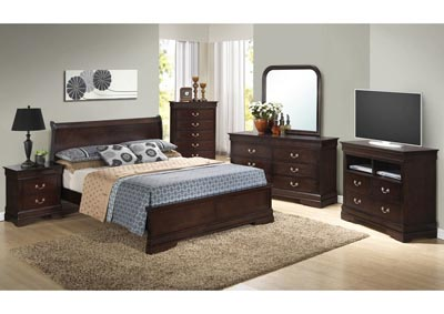 Cappuccino Queen Low Profile Bed, Dresser, Mirror, Chest & Night Stand