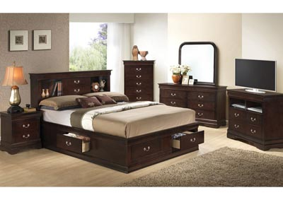 Cappuccino Queen Storage Bookcase Bed, Dresser, Mirror & Chest
