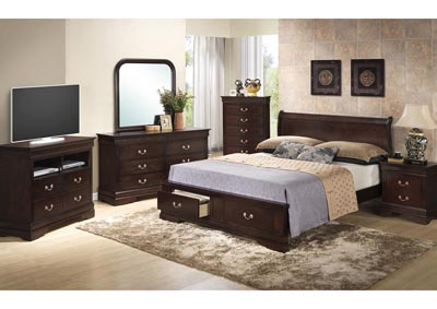 Cappuccino Queen Low Profile Storage Bed, Dresser, Mirror & Chest