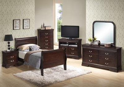 Cappuccino Twin Sleigh Bed, Dresser, Mirror & Chest
