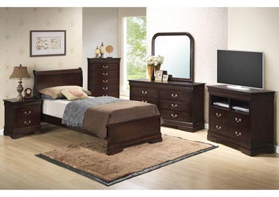 Cappuccino Full Low Profile Bed, Dresser, Mirror, Chest & Night Stand