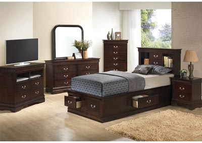 Cappuccino Twin Storage Bookcase Bed, Dresser, Mirror & Chest