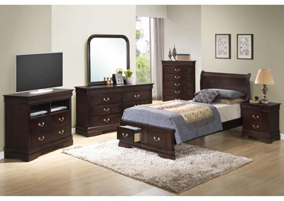 Cappuccino Full Low Profile Storage Bed, Dresser, Mirror & Chest