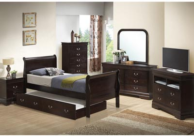 Cappuccino Twin Trundle Bed, Dresser, Mirror, Chest & Night Stand