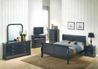Black King Sleigh Bed, Dresser, Mirror, Chest & Night Stand