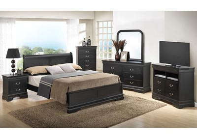Black King Low Profile Bed, Dresser, Mirror, Chest & Night Stand