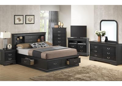 Black King Storage Bookcase Bed, Dresser & Mirror